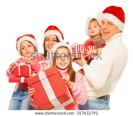 Big family 3 kids with many Christmas presents