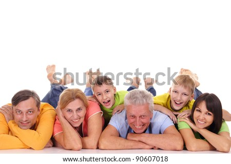big family of a six lying on white - stock photo