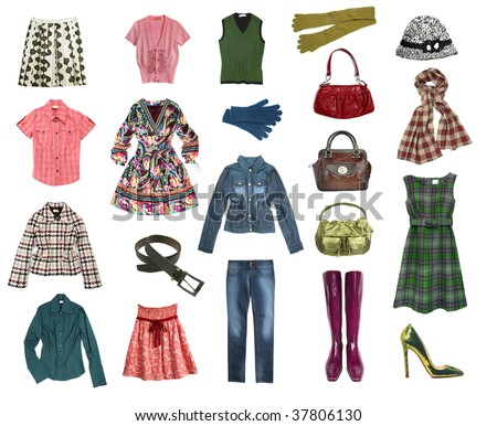 big female clothes set - stock photo