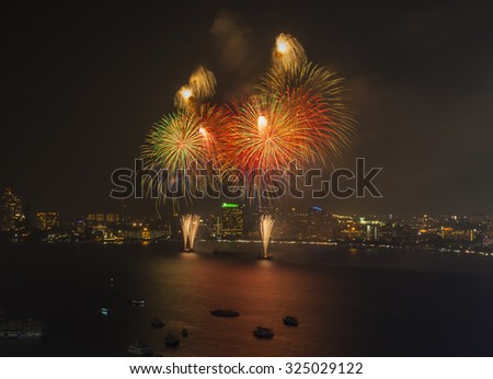 Big fireworks over the skyline of downtown Pattaya, Thailand