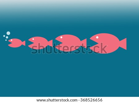 big fish eat little fish business concepts - stock photo