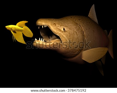 big fish eat small fish, the strong overwhelm the weak, striving for existence, existential battle, - stock photo