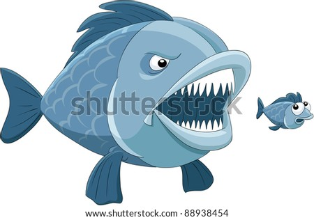 Big fish eats little fish, raster - stock photo