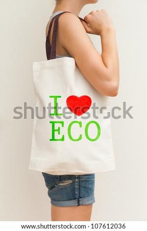 """Big flax eco bag """"I love eco"""" - stock photo"""