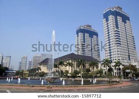 Big fountain on Jalan Tamrin in central Jakarta, Indonesia - stock photo