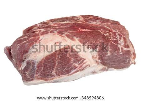 Big Fresh Raw Pork Loin Chop Isolated On White Background - stock photo