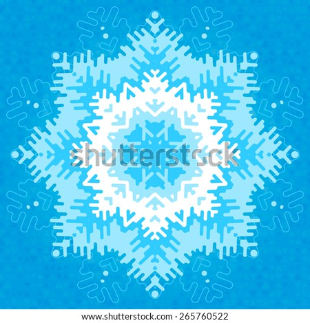 Big frosty snowflake with patterned edges.  Raster version. - stock photo
