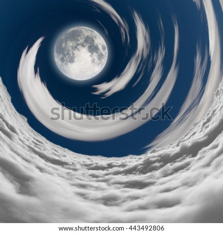 big full moon in a vortex of clouds 3D Render - stock photo