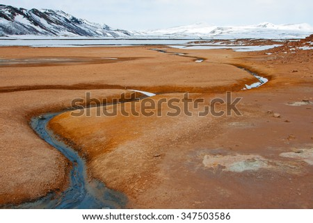 Big geothermal area called Hverir. North of Iceland. - stock photo