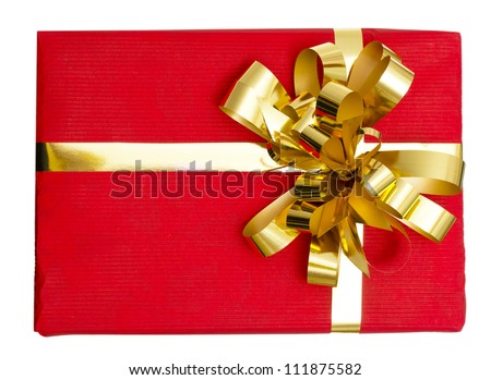 Big gift red box with ribbon isolated on a white background - stock photo
