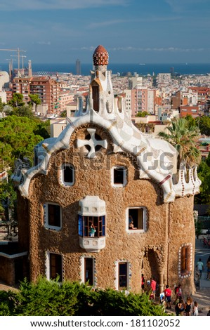 Big ginger house in Park Guell and Barcelona city in Spain - stock photo