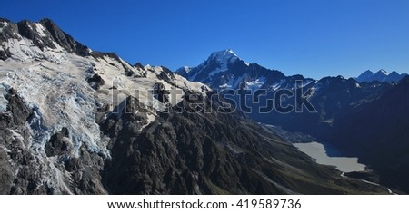 Big glacier, Mt Cook and Hooker Lake. Morning scene in the Southern Alps, New Zealand. - stock photo