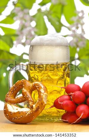 big glass of bavarian beer - stock photo