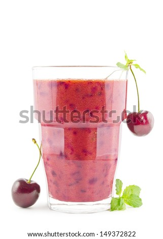 Big glass of fresh cherry smoothie on white - stock photo
