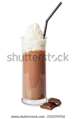 Big glass of hot chocolate with whipping cream - stock photo