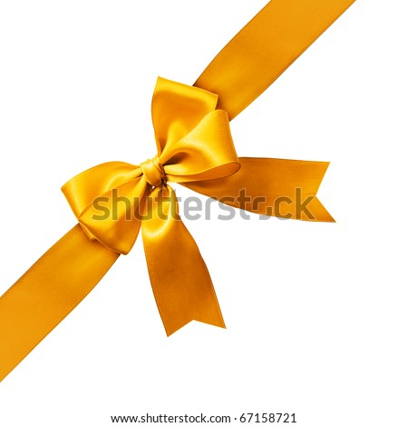 Big gold holiday bow on white background - stock photo