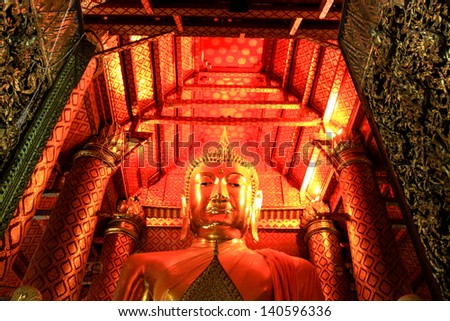 Big golden Buddha statue in temple at Wat Panan Choeng temple, Ayutthaya, Thailand