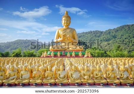 Big Golden Buddha statue in Thailand temple - stock photo