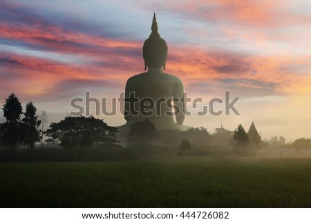 Big golden buddha statue of Thailand at Wat Maung and 
