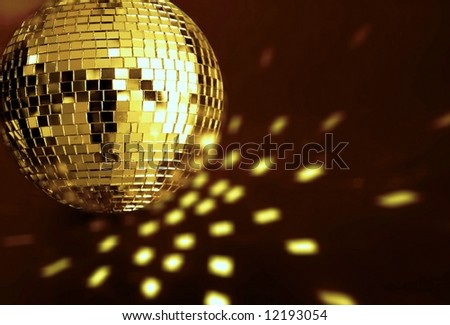 big  golden disco ball - stock photo