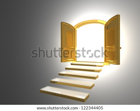Big Golden Door opened on white with some gold steps & Big Golden Door Opened On White Stock Illustration 122344405 ... Pezcame.Com
