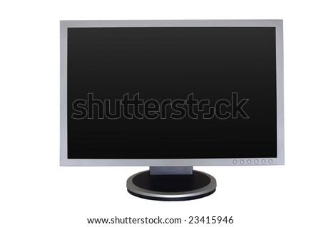 Big gray wide LCD monitor with empty screen - stock photo