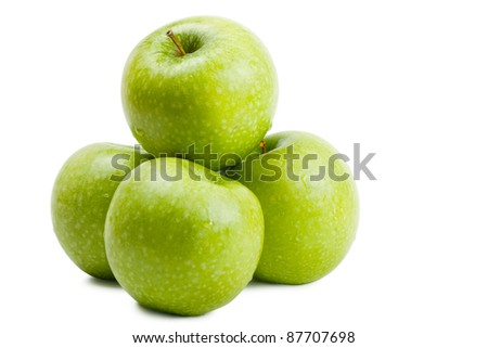 Big green apples isolated over white background