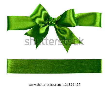 big green bow made from silk ribbon - stock photo