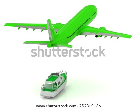 Big Green passenger airliner and green boat. Top view isolated on white - stock photo