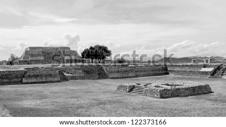 Big ground among the ruins at Monte Monte Alban - Oaxaca, Mexico (black and white) - stock photo