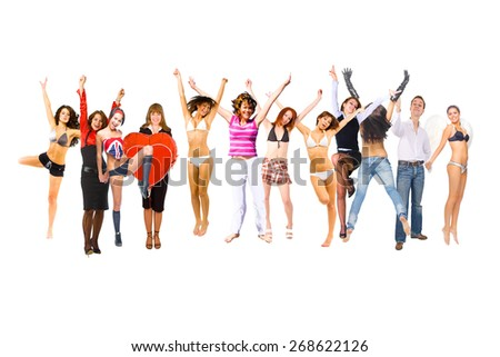 Big Group Isolated over White  - stock photo