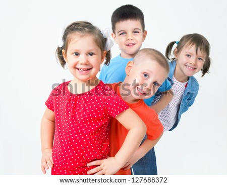 Big  group of diverse children  funny  playing - stock photo
