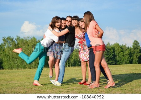 Big group of young girls having fun - stock photo