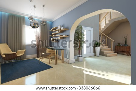 Big Hall And Office Space 3d Rendering - stock photo