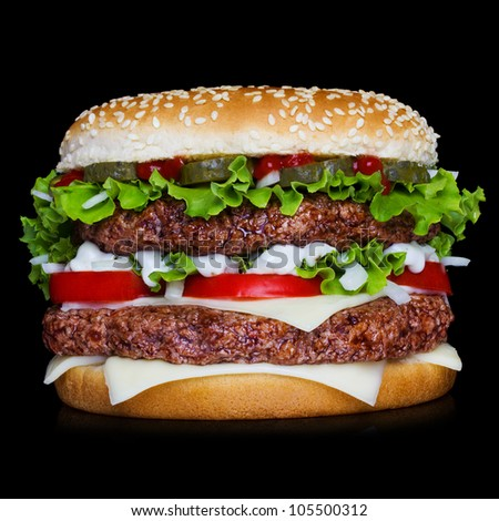 Big hamburger isolated on black background with reflection - stock photo