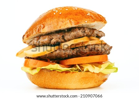 big hamburger with beef and smoked cheese - stock photo