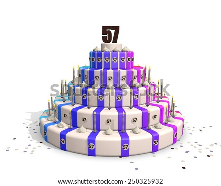 Big happy birthday cake with candles and confetti, on top a chocolate number 57 - stock photo