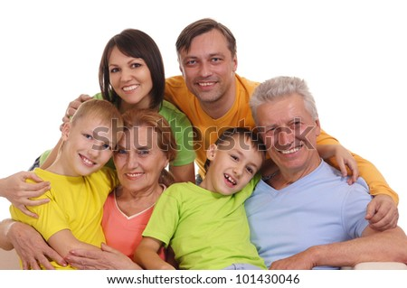 Big happy family with parents, children and grandparents - stock photo