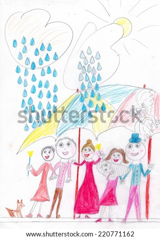 Big happy smiling family together under big umrella, couple with newborn baby and angel in the sky. Sunshine outdoors. Kid's drawing. - stock photo