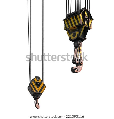 Big harbor cranes hooks hanging on steel ropes isolated on white background - stock photo