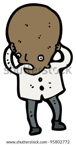 big head scientist cartoon - stock photo