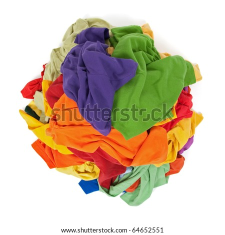 Big heap of colorful clothes, view from above, isolated on white background. - stock photo