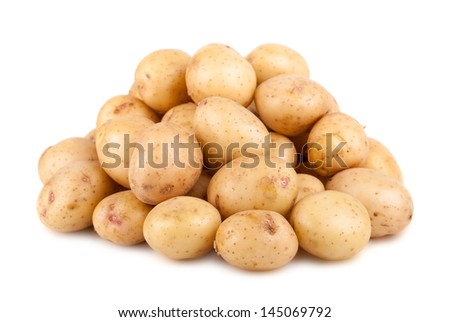 Big heap of ripe potato isolated on white background - stock photo