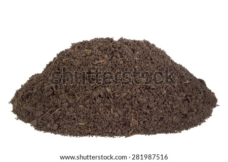 Big heap real soils of compost. There are live insects and the rotted  parts of plants - stock photo