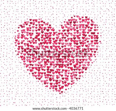 Big heart made of a lot of tiny hearts - stock photo