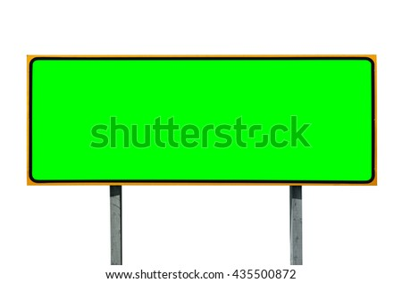 Big highway sign isolated on white with chroma green screen insert.
