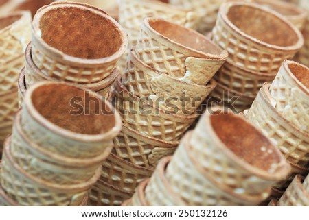 Big hill cones for ice cream. Background - stock photo