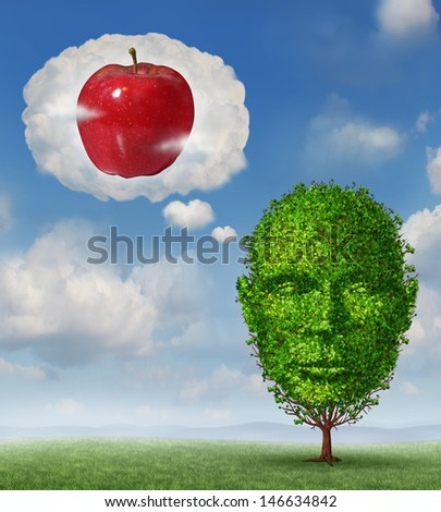 Big ideas business concept as a tree shaped as a human head dreaming and imagining a red apple in a dream bubble made of clouds as a metaphor for planning future profit and fruitful fertile success. - stock photo