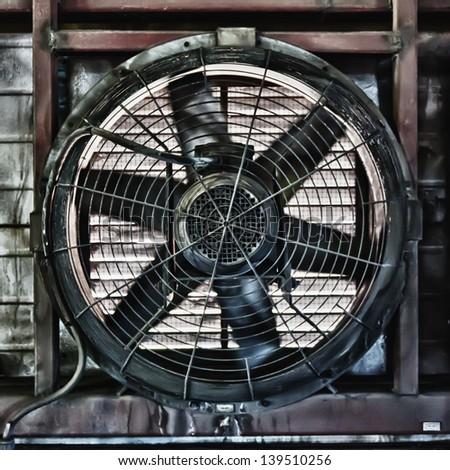Big industrial fan in a factory - stock photo