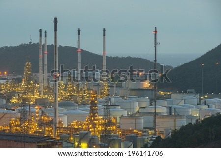 big Industrial oil tanks in a refinery at industrial plants - stock photo